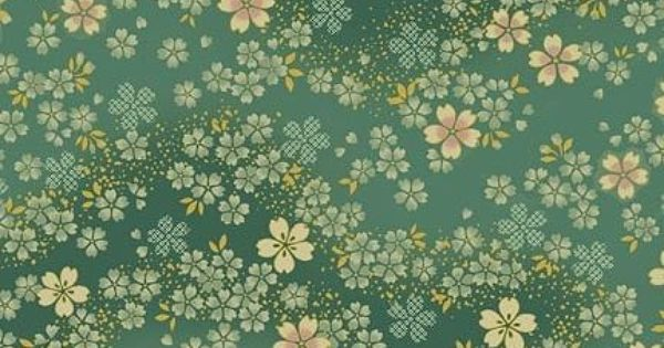 Flowering Cherry Blossom On Sage Green Background Fabric