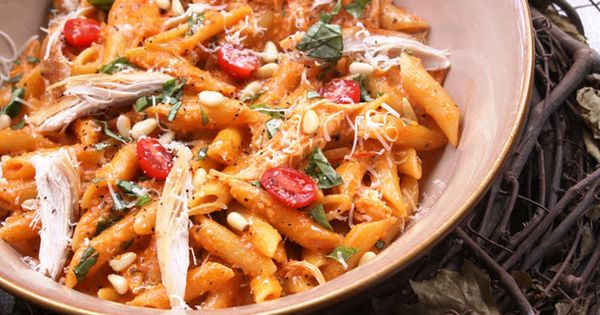 Roasted Red Pepper and Basil Pesto pasta - very good (used sunflower