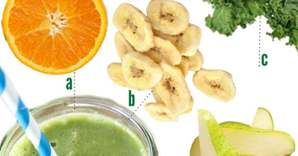 green smoothie: orange juice, bananas, kale, pears, squirt of honey ...