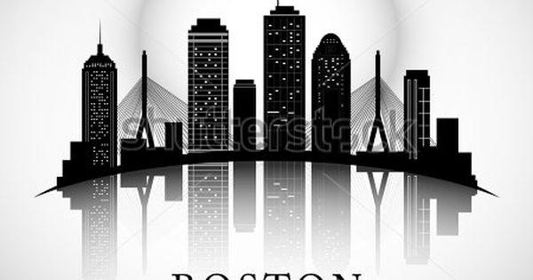 Boston Skyline City Silhouette Stock Vector Boston Skyline Tattoo Boston Skyline Boston Art