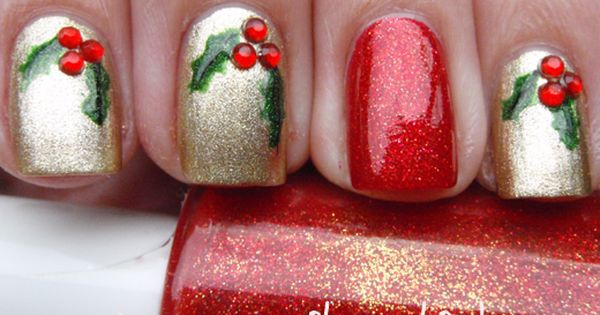 Christmas nail art nailart christmas nail holiday DIY