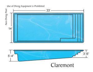 Claremont Fiberglass Swimming Pool Dimensions Inground Fiberglass Pools Rectangle Pool Swimming Pool Dimensions