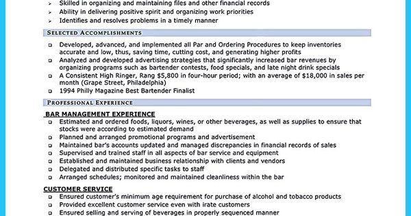 cool impressive bartender resume sle that brings you to