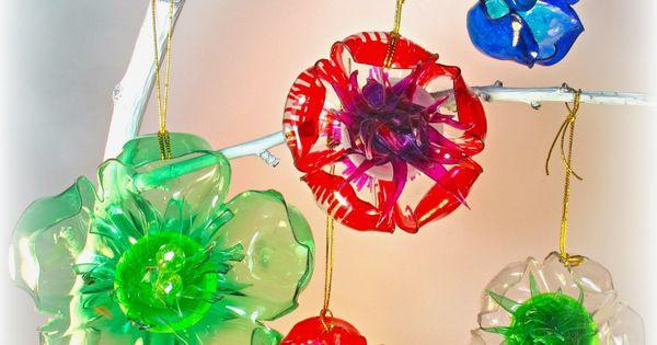 Plastic soda bottle projects ornaments make flowers or for Plastic soda bottle crafts