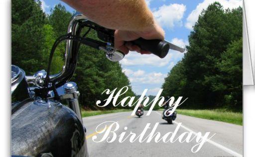 motorcycle ride happy birthday card