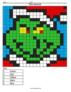 Christmas Multiplication And Division Coloring Squared Christmas Math Grinch Coloring Pages Christmas Addition