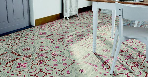 Sol vinyle imitation carreau de ciment shalimar rouge - Sol vinyle imitation carrelage ...