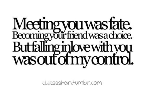 Meeting you was fate. Becoming your friend was a choice. But falling
