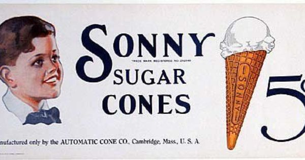 1920 S Sonny Sugar Cones Vintage Boston Area Ice Cream Poster Ice Cream Poster Vintage Ice Cream Sugar Cones