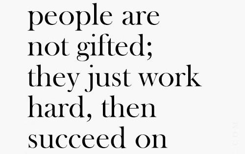 Successful people are not gifted; they just work hard, then succeed on