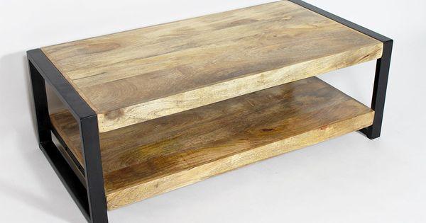 Table basse style industriel en bois massif de manguier - Table basse metal industriel loft ...