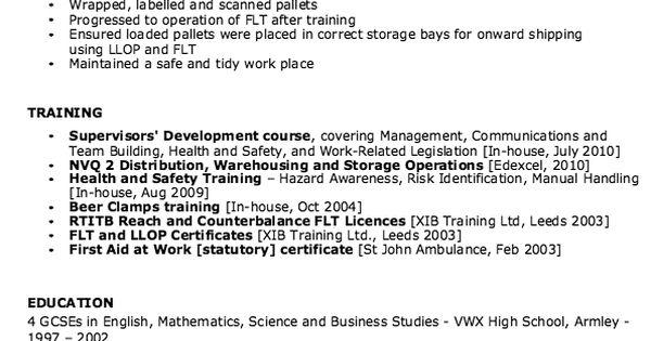 sample of warehouse supervisor resume