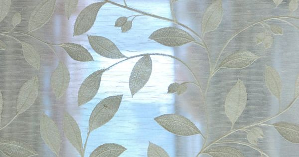 Off White Leaves Embroidery Sheer Poly Linen 140 Cm Width