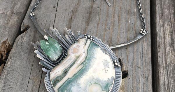 OOAK, Handmade Necklace Metalsmith Silversmith Sterling Silver Ocean Jasper Rustic Necklace Artisan Jewelry BOHO