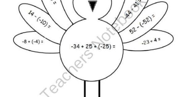 Coloring - Turkey 7th Grade Common Core Integers All ...