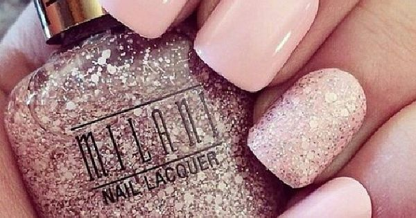 Light pink glitter nails nails nail pretty nails nail art light pink