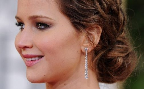 braid updo hairstyles | Jennifer Lawrence Messy Braided Hairstyle 2013