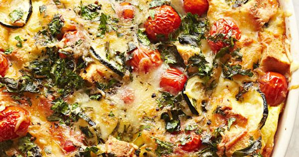 Tomato zucchini strata swiss cheese plump tomatoes for Courgette and tomato bake bbc