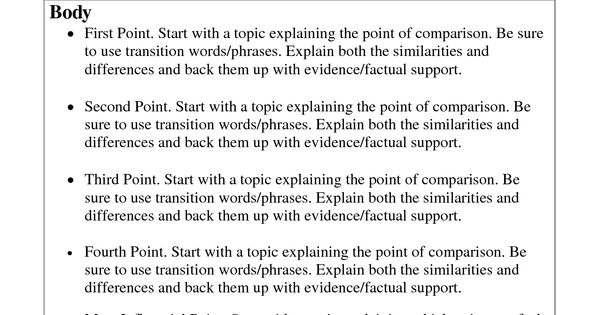 comparison essey essay In comparison and contrast, transition words tell a reader that the writer is changing from talking about one item to the other transitional words and phrases help make a paper smoother and more coherent by showing the reader.