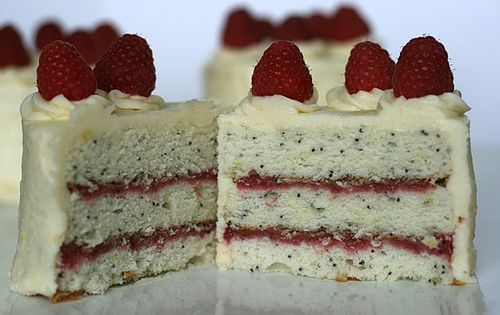 lemon poppyseed cake with raspberry filling. my hubby loves raspberry and lemon