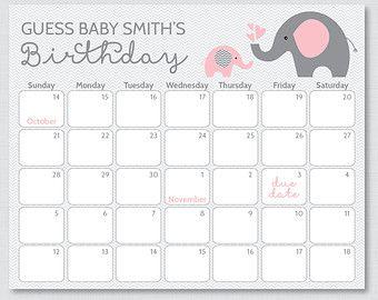 Purple Elephant Baby Due Date Calendar  Elephant Baby Shower  Birthday Predictions Calendar  INSTANT DOWNLOAD Editable PDF A409