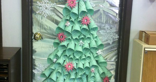 The choir room was the winner of my school's Christmas Door Decoration Contest! We used folded ... - photo#47