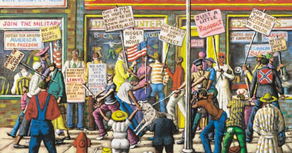 Painting By Artist Melvin King Around 1960 Highlights Protests And Sit Ins At Lunch Counters At Downtown Stores Like Woolworth S Protest Art Flag Art King Art