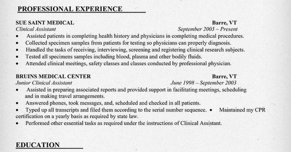 Clinical Assistant Resume Sample (http://resumecompanion.com) #health #jobs #nursing