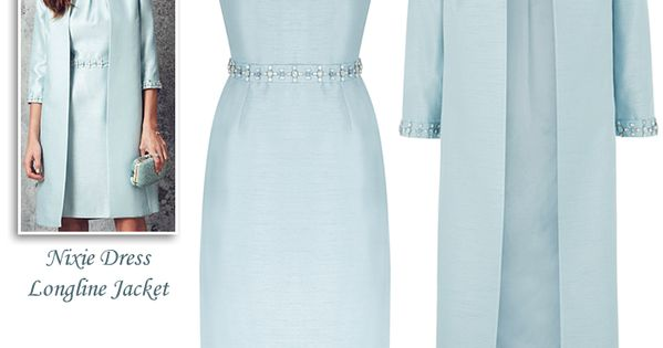 Monsoon Light Blue Beaded Shift Dress And Matching Coat