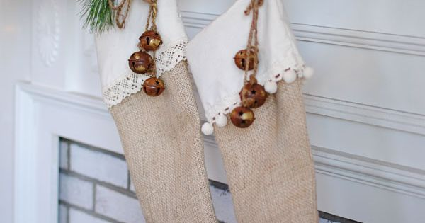 Burlap stockings, rusty jingle bells by Dear Lillie