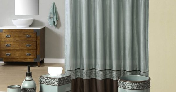 Teal and brown bath accessories welcome industrial gala for Blue brown bathroom decor