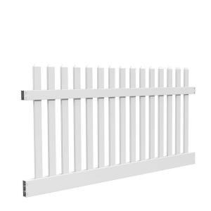 Veranda Kettle Straight 4 Ft H X 8 Ft W White Vinyl Un Assembled Fence Panel 73011897 The Home Depot In 2020 White Vinyl Fence Vinyl Picket Fence Vinyl Fence Panels