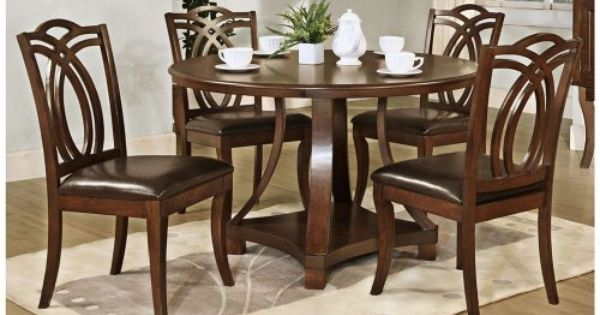 Set Of 5 Round Cherry Wood Faux Leather Seat Dining Set By