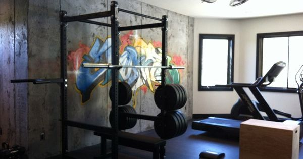 Private home gym with a nice artsy touch tagged garage inspirations pinterest and