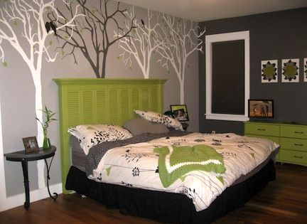 Old shutters headboard and trees on the wall...yes, please!