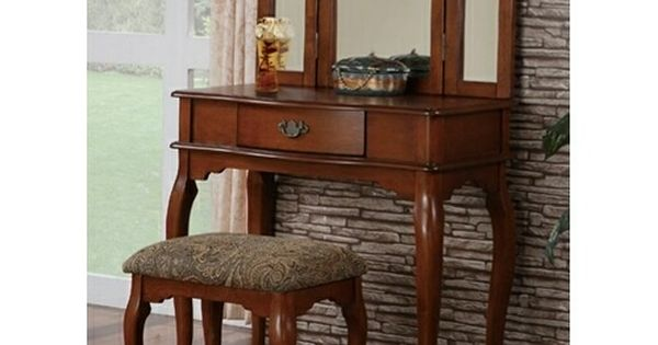 On queen anne bedroom furniture find the best prices on queen anne - 3 Pc Walnut Brown Finish Wood Make Up Bedroom Vanity Set