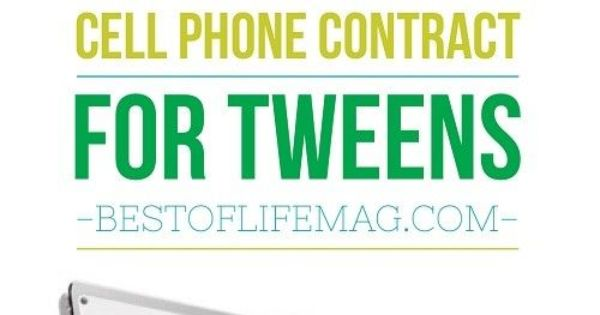 It is a picture of Unforgettable Printable Cell Phone Contract for Tweens
