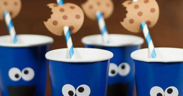 Cookie Monster inspired paper cups/ by FestivaPartyDesign on Etsy, $20.00