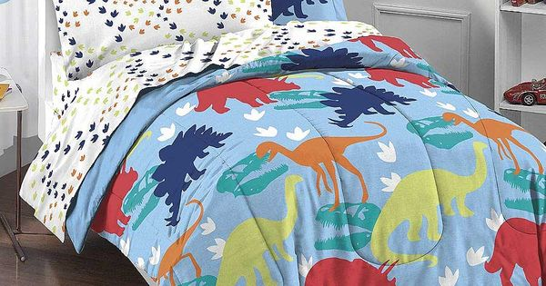 Dinosaur T Rex Tracks Twin Comforter Sheets Bed In Bag Bedroom Pinterest Flat Sheets Twin