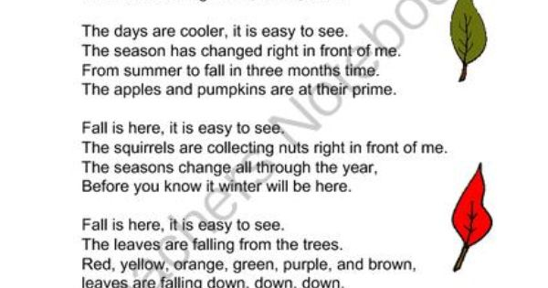 Fall Poem Freebie - Fall Is Here! from Mrs. Navarres Shop ...