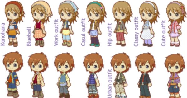 Male and Female Outfits from Harvest Moon: Tale of Two ...
