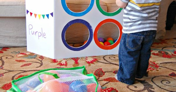 Minne-Mama: Color Sorting Toss Activity (with Video!) - Use ball pit balls