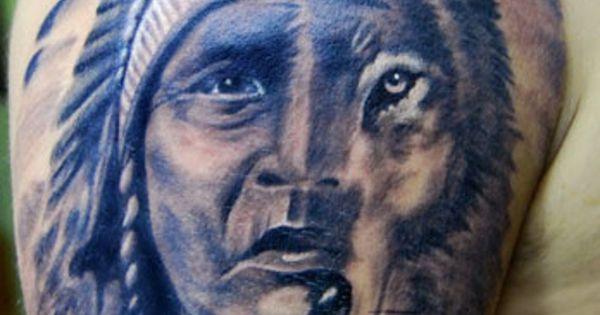 Half face of native american man half wolf tattoo on shoulder ... | tattoo | Pinterest | Wolf ...