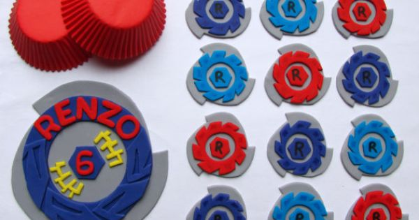 Purple beyblade cake and cupcake toppers boy party ideas for Anime beyblade cake topper decoration set