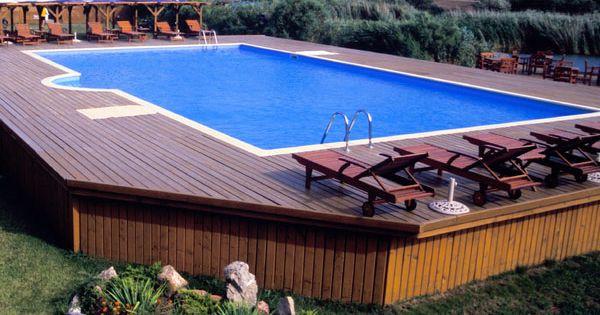 Surround square deck above ground pool decks pinterest - Nice above ground pools ...