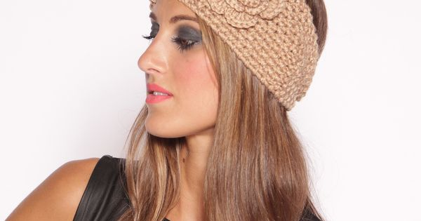 Flower Knit Camel Headband
