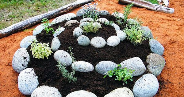 Cool idea for a little garden spot -- twirled herb garden design