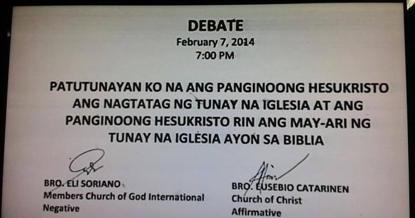 inc debate ang dating daan Almost 5,400 followers of eliseo soriano, a religious cult leader of ang dating daan in the philippines, has left the organisation because of widespread.