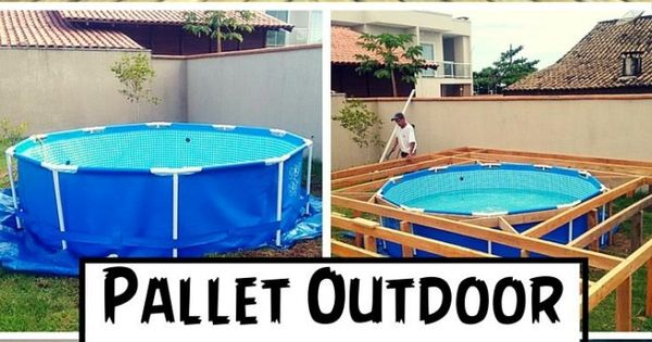 The best diy wood pallet ideas outdoor swimming pool for Garden pool made from pallets