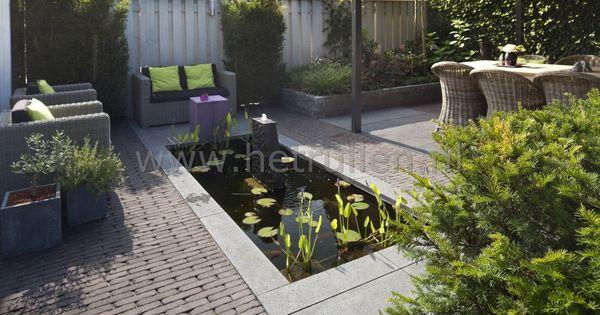 Tuinontwerp tuinaanleg patiotuin kleine tuin eindhoven helmond strakke vijver overdekt terras - Overdekt terras tegel ...